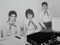 Michal Hron se sestrou. Záliba ve výpočetní technice již od mládí.