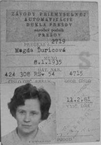 Preukaz Magda Ďuricová