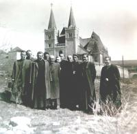 Vincent Dornik and other students - photo from student times in Spišská Kapitula (1949)