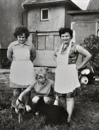 Květoslava Blahutová (right) in front of her house in Polanka nad Odrou / ca. 1970s