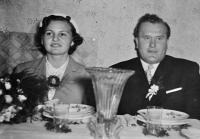 Květoslava Blahutová with her husband Antonín Blahut / wedding photo / 1953