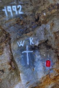 Pomníček horníka, který jako poslední zahynul při práci v Rudných dolech Zlaté hory