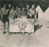 Summer camp Ha Šomer Hacair, Mikuláš  first right, Robi Buchler in the centre, about 1938