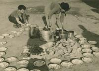 Preparing lunch at the kibbutz Lehavot Chaviva, about 1953