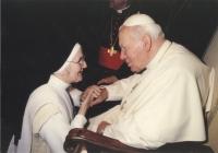 Slavomíra with the pope John Paul II. in the jubilee 2000