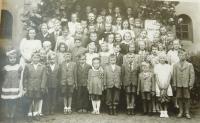 Hudební škola před kostelem v Šumperku do níž docházela Evženie Hajná