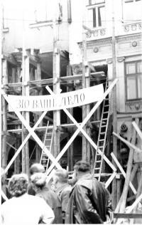Snímek z Liberce po srpnové okupaci v roce 1968