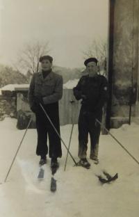 Alois Grůz na lyžích v Horních Studénkách