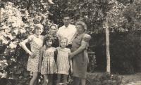 Daughter Marenka (Marija), cousin Marica Bajic, daughter Mirjana, husband Franja Poznik and Franjica Poznik; in 1970's