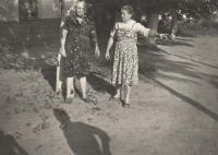 Franjica Poznik (right) with neighbor; 1970, village of Beska, Vojvodina, Serbia