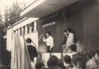 Relay of Youth, courtyard of elementary School Vladimir Nazor (now Jovan Ducic), Petrovaradin/Serbia, around 1984