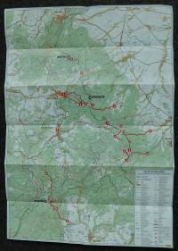 Mapa Rychlebských hor a Kralického Sněžníku s místy setkání a kurýrních cest československých a polských disidentů