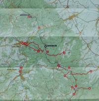 Mapa Rychlebských hor s místy setkání a kurýrních cest československých a polských disidentů