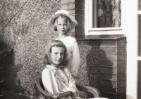Anna and Bára, Anna's daughters, 1987
