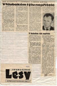 novinový článek o manželovi Josefu Kopcovi