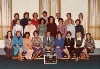 Olička (4th left down) as a teacher at St Bernad School, 1976