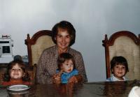 Olička with some of her grandchildren, Quebec 1986