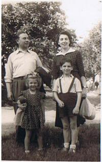 S. Rejthar with his family, as a crane operator, Prague 1951