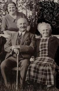 Josef Pacovský, grandfather, with grandmother and daughter Milada,