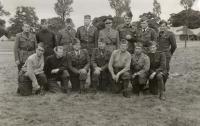 Soldiers from the Czechoslovak army - from Třebíč- at Cholmondeley Park, England, 1940. Miloš Novák sitting third left