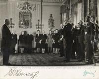 Office workers of the President Benes´s at the ceremony, England 28.10. 1943, Jaroslav Horníček third left