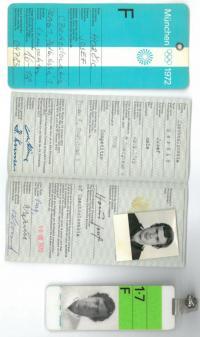 Identifikační karta z olympijských her v Mnichově