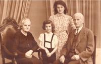 Prarodiče Bartůňkovi, Elly a Vlasta, Praha 1942/3, fotografie se posílala matce do koncentračního tábora