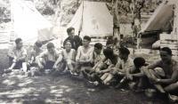 Group Barak (Lightning), Matti Cohen (Mathias Kohn) sitting second from left. Madrikh Ja´akov Wurzel, nicknamed Jackie, sitting first from right. Tchelet Lavan camp in Rakousy, 1938.