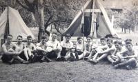 Tchelet Lavan summer camp. Rakousy 1938. Matti Cohen (Mathias Kohn) 5th from right. 1st from left, sitting, is Ja´akov Wurzel, nicknamed Jackie