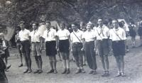 Tchelet Lavan summer camp. Madrikhim, first from right Ja´akov Wurzel - Jackie. Rakousy 1938.