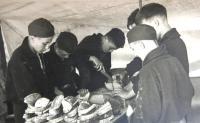 Tchelet Lavan summer camp. Rakousy 1938. Matti preparing the breakfast