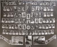 Tablo průmyslové školy v Haifě. Matti Cohen ve třetí řadě čtvrtý zprava. 1943.