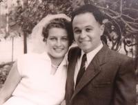 Matti Cohen and Ruth Brada, wedding photo 1953.