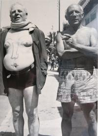 Pablo Picasso body painting on uncle Ernst Aschers´ body