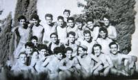 Yehoshua Rezek, first row, fifth from right (1957)
