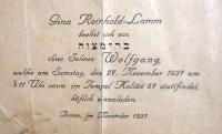 Bar mizvah invitation, 1937