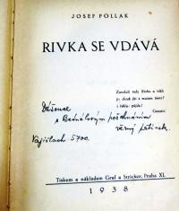Dedication of author Josef Pollák to his daughter Dáša