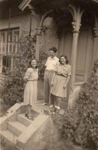 With sister and brother, 1946