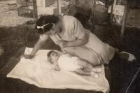 With daughter Nurit, 1952
