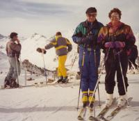 Skiing with wife Hava