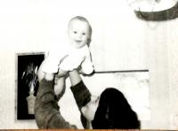 Hana with her son Jan, Vrchlabí 1980