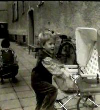 Hana with her son Petr, Vrchlabí about 1981