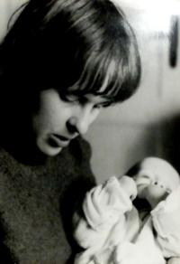 Hana with her son Petr, Vrchlabí 1978
