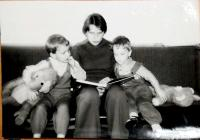 Hana with her sons, Vrchlabí 1980s