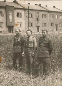 One of the men is Uncle Vaclav Bešta from Bohemian Malin in Ostrava, after fighting in Czechoslovakia. church
