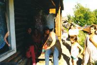 1998, Zuzana in jeans in Slovakia, settlement Žehva
