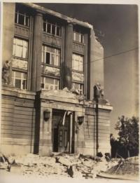 National museum after the bombing, pictured by the witness