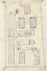Eliaš camp map drawn by Vilem Mixal after returning from prison