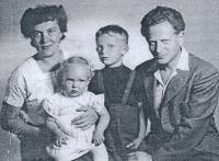 from the left Božena, Kateřina, Jiří and Tomáš, 1957
