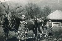 Lotte Lebovičová (vlevo) u dědečka (Sinovír, 1940)